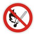 """Знак запрещающий """"Запрещено пользоваться открытым огнем и курить"""", диаметр 200мм"""
