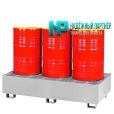 Поддон металлический с ёмкостью полного сбора пролитой жидкости для хранения 3-х бочек 1875х700х430 мм
