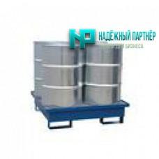 Поддон металлический с ёмкостью частичного сбора пролитой жидкости для хранения 4-х бочек 1250х1250х230 мм