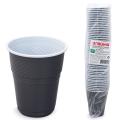 Одноразовые стаканы ЛАЙМА Бюджет, КОМПЛЕКТ 50шт., 155мл бело-коричневые