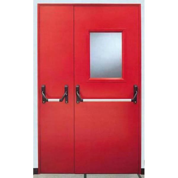 металлическая техническая дверь со стеклом