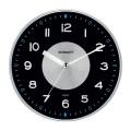 Часы настенные SCARLETT SC-55E, круг, черные, серебристая рамка
