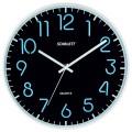 Часы настенные SCARLETT SC-WC1007O круглые, черные, серебристая рамка