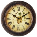 Часы настенные SCARLETT SC-WC1002K круглые, с рисунком, коричневая рамка